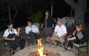 Elio, Rico, Donna, Tony and Lisa enjoying the fire after the meal - Photo Alex Kaliakin