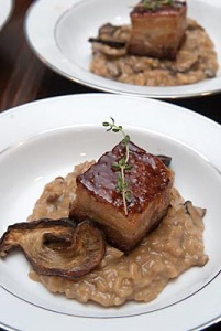 Braised Pork Belly W/Porcini Mushroom Risotto - Photo Rico Mandel