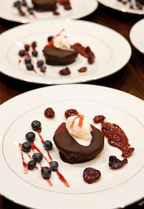 Chocolate Dipped Poached Pear - Photo Rico Mandel