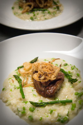 "Braised veal cheeks with wild ramp & asparagus risotto, crispy shallots and merlot ""Bordelaise"""