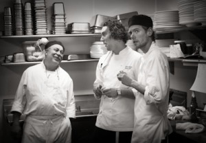 Ramon, sous Chef Chris Kufek and Goose after thrid course goes out