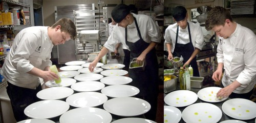 Plating the Yellowtail Prosciuto