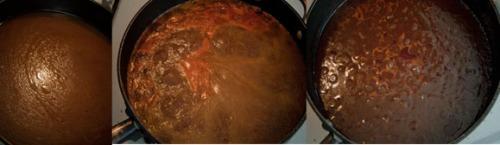 Stages of reducing Braising liquid into sauce